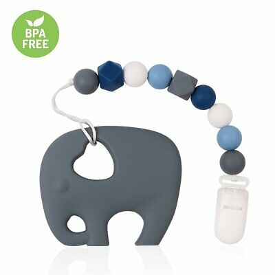 TYRY.HU Baby Pacifier Chain Clip Silicone Beads Soother Elephent Teether Toy