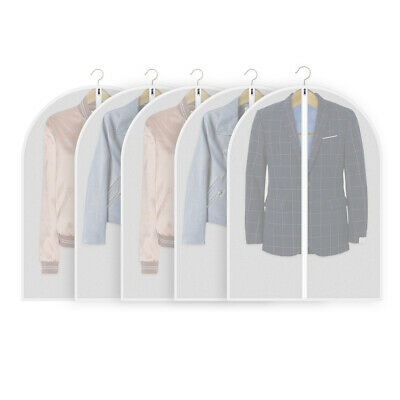 5 Pack Clothes Covers Transparent Waterproof Suit Zipper Dress Covers Hanging