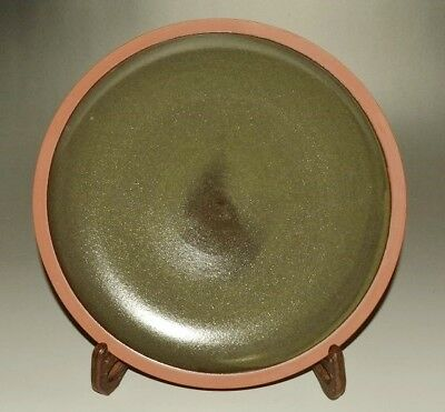 JAPANESE PLATE BOWL ART RED Pottery Platter ASIAN 無名異 FINE dish RED Japan c640
