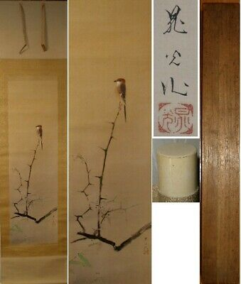 JAPANESE PAINTING HANGING SCROLL JAPAN BIRD PLANT ORIGINAL ANTIQUE PICTURE 626i