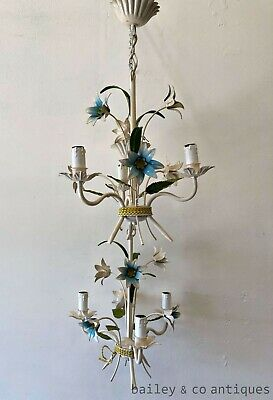 French Vintage Pair Tole Floral Chandeliers Blue  White - i077-i074