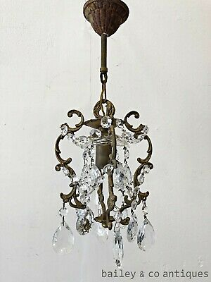 Antique French Crystal Chandelier Cage Dainty Bedroom Louis Style  - PQ503