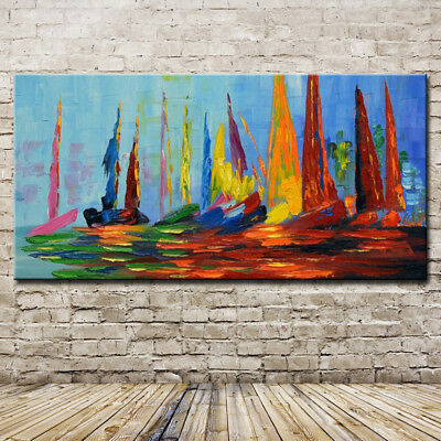Handmade Palette Knife Oil Painting On Canvas Modern Abstract Color Sailboat Art