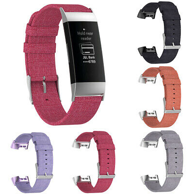 EG_ Canvas Replacement Adjustable Wrist Band Watch Strap for Fitbit Charge3 Sera