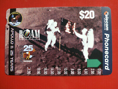 Used $20 Apollo 11 25 Years Phonecard 3rdAust Space Conference Overprint at Back