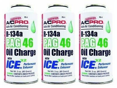 3pk R134a Refrigerant PAG46 Oil Charge w/ICE32 Enhancer 3oz Certified ACPro PC-1