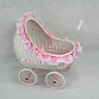 Brand New Regal White Cane Isabella Dolls Pram Carriage Girls Pretend Play Toy