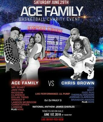ACE FAMILY Basketball Charity Event - Chris Brown lil pump DJ Pauly D