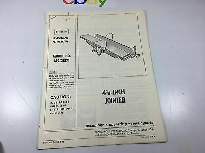 Sears Model 149.21871 4-1/4 Jointer Manual Photocopied