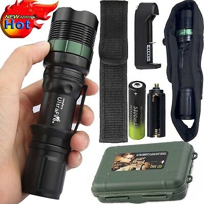 Tactical ZOOM FOCUS 900000LM T6 LED Outdoor Flashlight Torch+18650+Charger+Case
