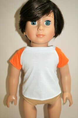 """American Girl Doll Our Generation 18"""" Boy Dolls Clothes White T-Shirt Orange"""