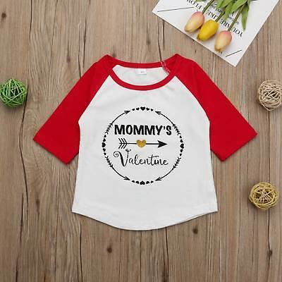 UK New Baby Girls Toddler Tops T-shirt Valentine's Day Long Sleeve Blouse