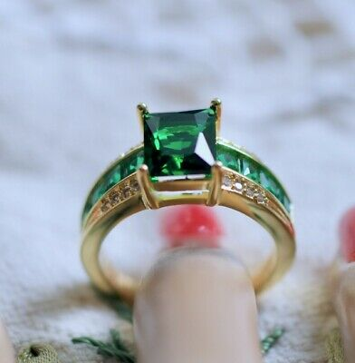 Antique Jewellery Ring Emerald White Sapphires Vintage Deco Dress Jewelry sz T