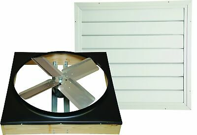 24in Attic Fan Shutter Whole House Ventilation 2 Speed Air Exhaust Metal Blade