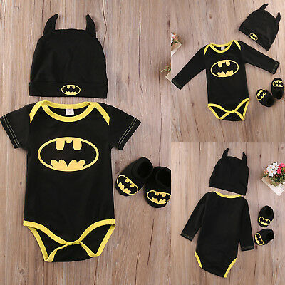 3Pcs Newborn Baby Boy Girl Batman Outfits Jumpsuit Clothes Romper + Shoes + Hat