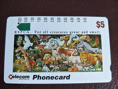 Used 1 Hole $5 RSPCA For all Creatures Great and Small Phonecard Prefix 756