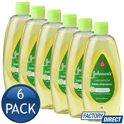 6 x JOHNSON'S BABY SHAMPOO NO TEARS HYPOALLERGENIC SHINY HAIR CAMOMILE 300mL