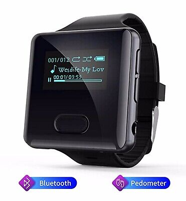 MP3 & MP4 Players Clip With Bluetooth,16GB Running Watch FM Radio Pedometer TWS