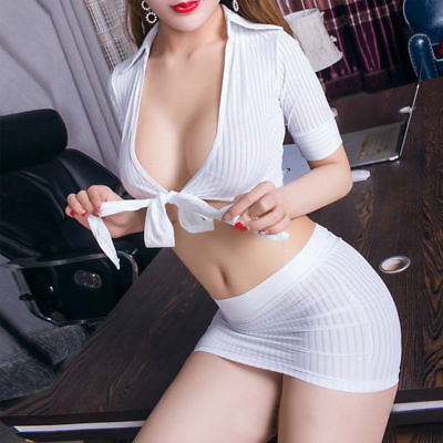 2PC Fancy Dress Womens Sexy Secretary Outfit School Uniform Cosplay Costume Set