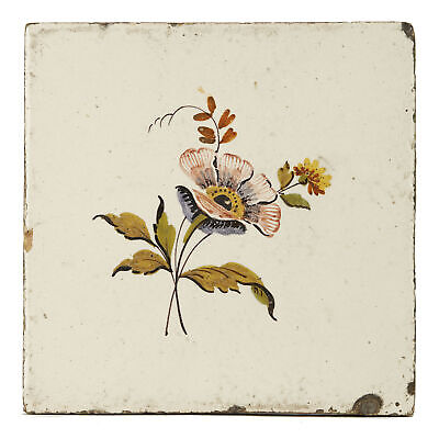 Large English Attributed Floral Painted Delft Tile 18Th C.