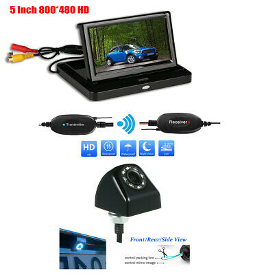 """Wireless 5"""" LCD Car Rear Side View System Monitor+170° 8 LEDs Nightvision Camera"""