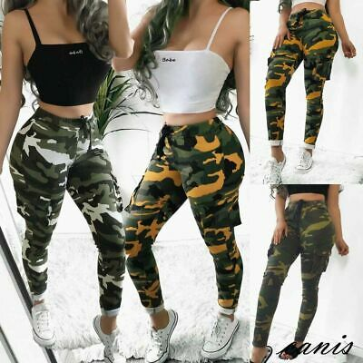 4094c34131f3a Women Casual Camo Cargo Linen Floral Pants Military Army Combat Long  Trousers