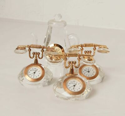 3x Vintage French Le Temps 1x Camey Miniature Glass Clocks NOT WORKING