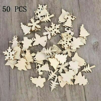 50 Pendants Laser Cut Wooden Hanging Ornaments Wood Crafts Feather Embellishment