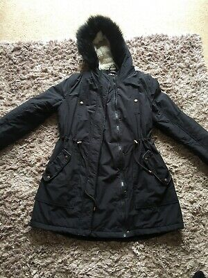 Black, Hooded maternity coat size 12