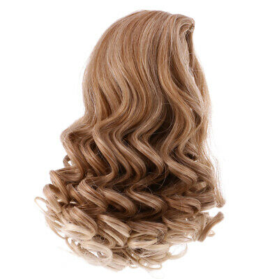 22cm Long Curly Wig Hairpiece for for 18'' American Doll Clothes Accs Khaki