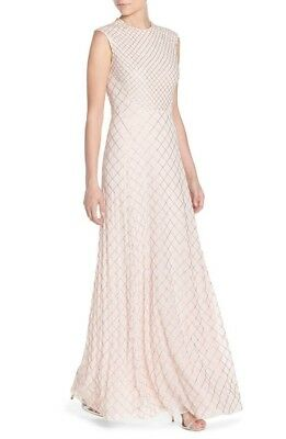 38be17900c NWT Needle & Thread Beaded Circle Mesh Gown Embellished Maxi Dress Pink 2