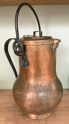 Vintage French Hammered Copper & Wrought Iron Kettle