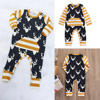 Newborn Baby Girl Boys Deer Clothes Bodysuit Romper Jumpsuit Outfits One-pieces
