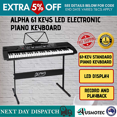 E61 Keys Portable Music Piano with Adjustable Stand LED Electronic Keyboard New