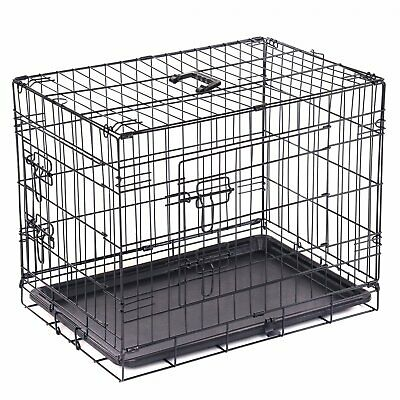 "NEW! 24"" Folding Metal Dog Cage Puppy Transport Crate Pet Carrier"