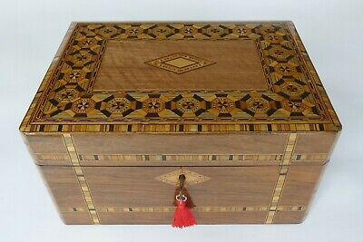 Antique Continental Walnut and Parquetry Sewing Box with Tray & Key
