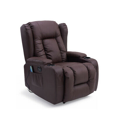 Electric Leather Recliner Massage Heated Wing Chair Armchair & 2 Drink Holders