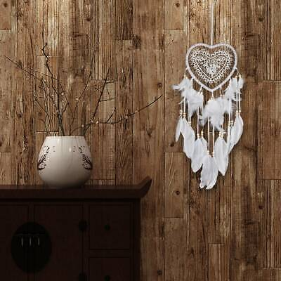 Handmade Dream Catcher White Heart Feathers Car Home Hanging Decor Ornament Gift