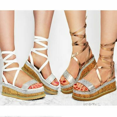 Womens Ladies Lace Up Espadrilles Sandals Diamante Flat Thick Sole Flatform Shoe
