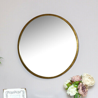 Large round gold wall mounted mirror vintage chic bathroom living room display