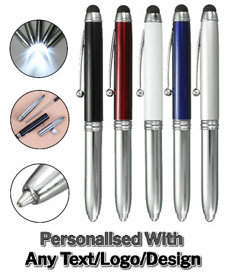 Personalized Laser Engraved Printed Metal Business Pen With LED Light & Stylus