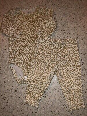 Baby Girls Infants 3 Months Two Piece Carter's Outfit Set White Brown Leopard Pr