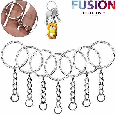 Split Key Rings Keyring With Chain 25Mm Blanks Hoop Loop Ring Link Chain Finding