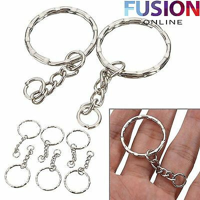 Keyring Blanks Key Chains Silver Tone Findings Split Rings 5/10/20/50/70/100/200