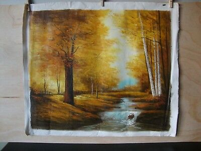 Vintage Original Taiwanese Oil Painting ~ Autumnal Forest River ~
