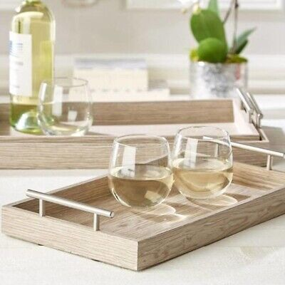 Tozai Set of 3 Luxury Manchester Contemporary Wooden Trays Light Finish