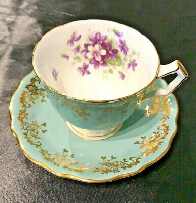 AYNSLEY FINE ENGLISH BONE CHINA FOOTED CUP & SAUCER #2917 GREEN w/ VIOLETS &GOLD