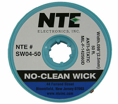 NTE SW04-50 #4 No-Clean Solder Wick - Blue - 50' - 2.5mm - MADE IN THE USA!