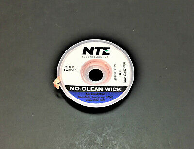 NTE SW02-10 #4 No-Clean Solder Wick - Blue - 100' - 2.5mm - MADE IN THE USA!