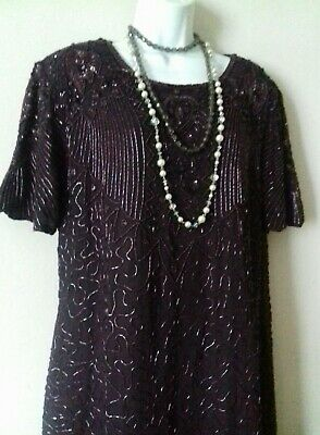 Vintage bead Dress 20s 30s 40s Deco party Gatsby Peaky Blinders Cruise purple M
